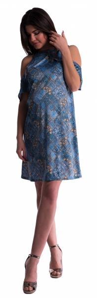 Be MaaMaa Těhotenské šaty s volánkovými rukávy - tm. modré