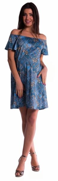 Be MaaMaa Těhotenské šaty s odhalenými rameny - tm. modré