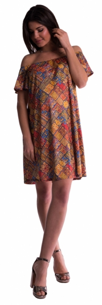 Těhotenské šaty s odhalenými rameny - cihlové