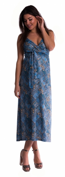 Dlouhé těhotenské šaty s ramínky - tm. modré