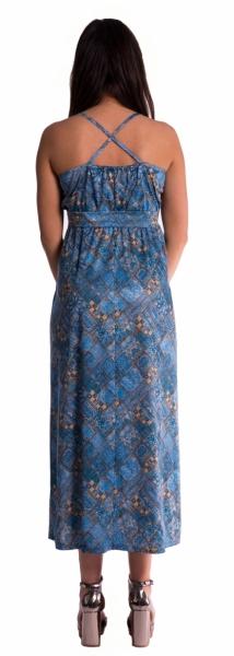 Be MaaMaa Dlouhé těhotenské šaty s ramínky - tm. modré