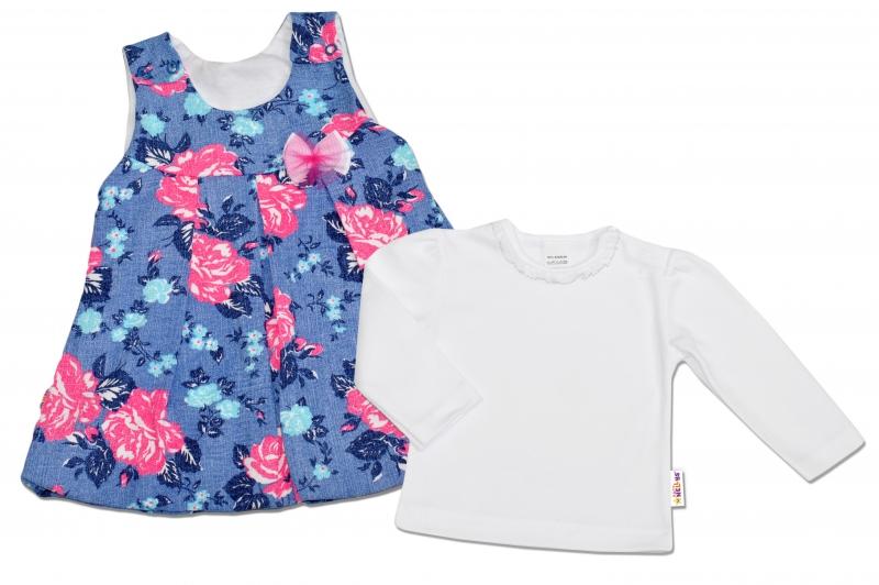 2D Souprava Šatičky + košilka Baby Nellys ® - modré s květinkami