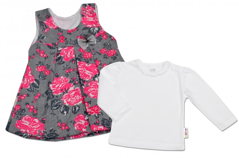 2D Souprava Šatičky + košilka Baby Nellys ® - šedé s květinkami