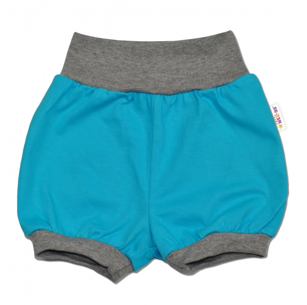Bavlněné kraťásky Baby Nellys ® - modré/šedý lem