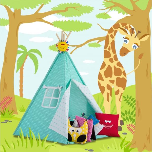 Stan pro děti TIPI + podložka a 2 polštářky - puntíčky v mátové, mátové puntíčky v bílé