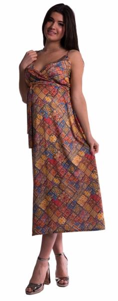 Dlouhé těhotenské šaty s ramínky - cihlové