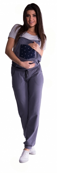 Těhotenské teplákové zahradníky - metalická ocel, vel. XL