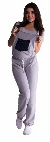 Těhotenské teplákové zahradníky - šedé, vel. XL