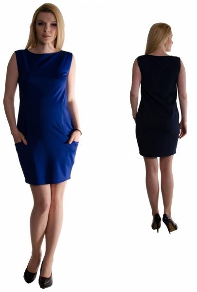 Těhotenské letní šaty s kapsami - tmavě modré  b151039072