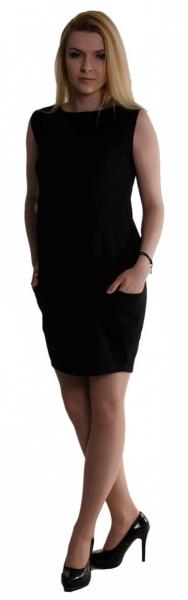 Těhotenské letní šaty s kapsami - černé