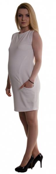 Be MaaMaa Těhotenské letní šaty s kapsami - ecru