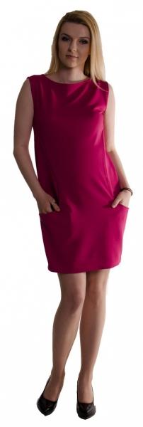 Těhotenské letní šaty s kapsami - purpurové