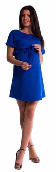 Be MaaMaa Těhotenské šaty s vázáním - tm. modré - vel. S