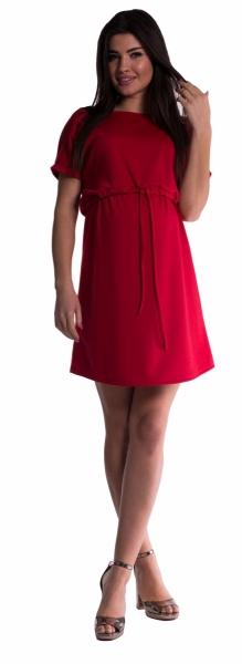Be MaaMaa Těhotenské šaty s vázáním - červené