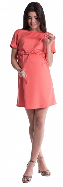 Be MaaMaa Těhotenské šaty s vázáním - korál