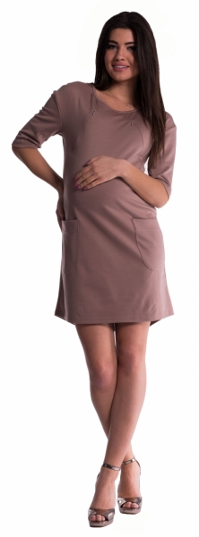 Be MaaMaa Těhotenské a kojící šaty - béžové