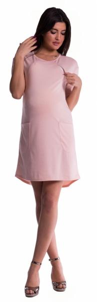 Be MaaMaa Těhotenské a kojící šaty - pudrově růžové - vel. S