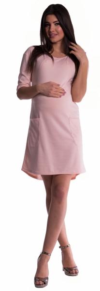 Be MaaMaa Těhotenské a kojící šaty - pudrově růžové