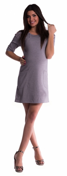 Be MaaMaa Těhotenské a kojící šaty - šedé