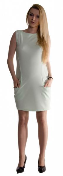 Těhotenské letní šaty s kapsami - máta