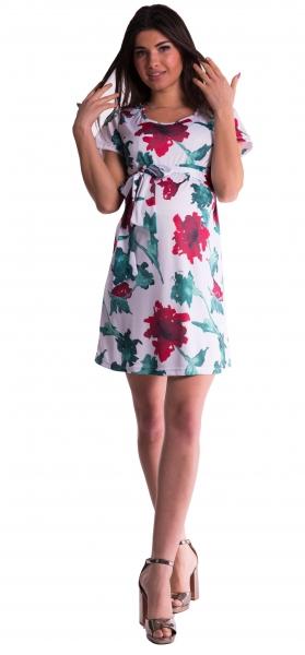 Be MaaMaa Těhotenské šaty s květinovým potiskem s mašlí  - červené - vel. S