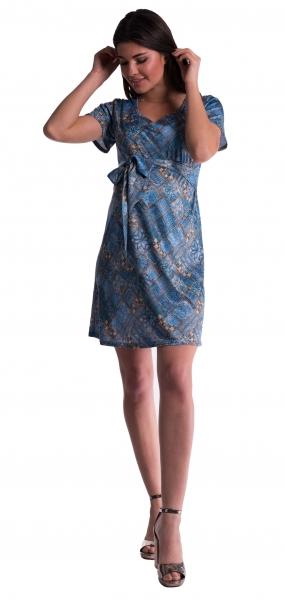 Těhotenské šaty s květinovým potiskem s mašlí  - tm. modré - vel. S