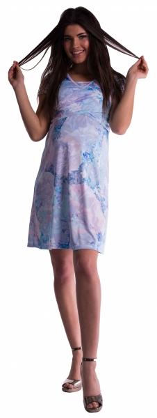 Be MaaMaa Těhotenské a kojící šaty s květinovým vzorem - modré květy - vel. S