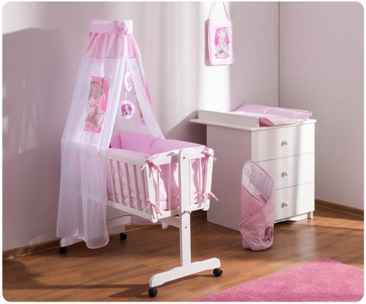 Baby Nellys Dřevěná kolébka s plnou výbavou Sweet Dreams by Teddy - růžová