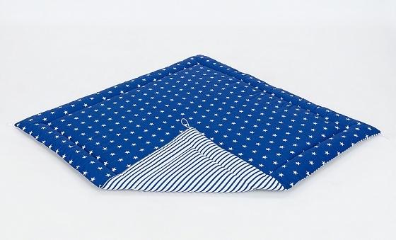 Hrací, přebalovací podložka 120x120cm - granátová/hvězdičky bílé-proužky granátové