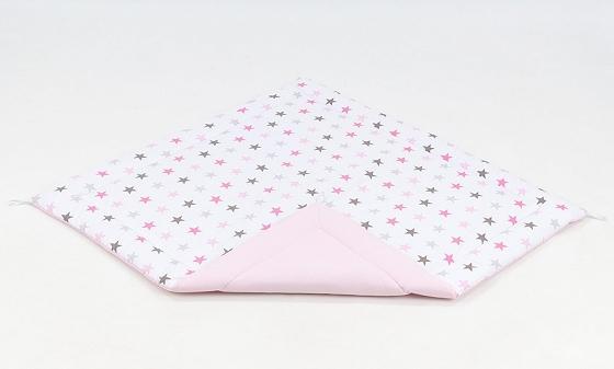 Hrací, přebalovací podložka 120x120cm - bílá/hvězdičky šedé, růžové-sv. růžová