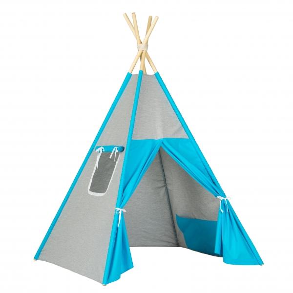 Stan pro děti teepee, týpí  - šedý / tyrkys