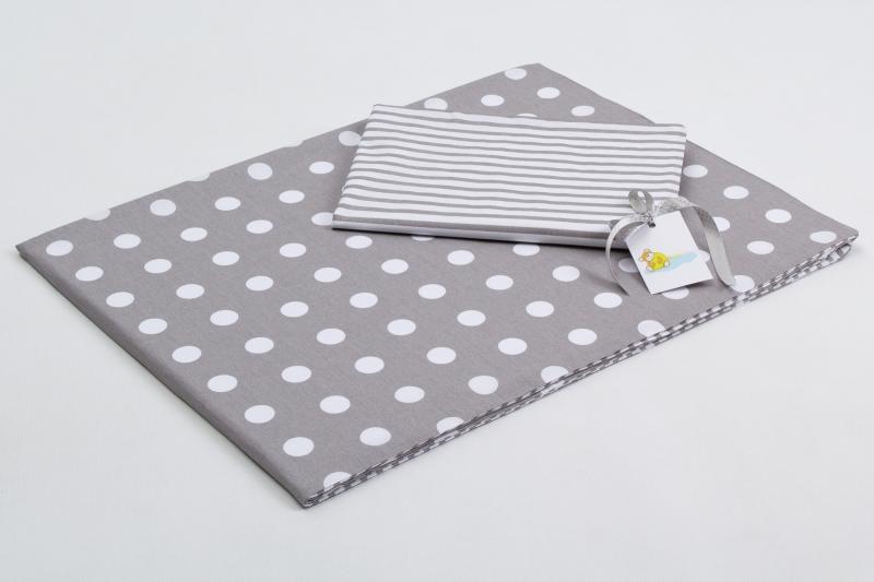 Bavlněné povlečení do postýlky  - šedá-bílé puntíky/šedé proužky