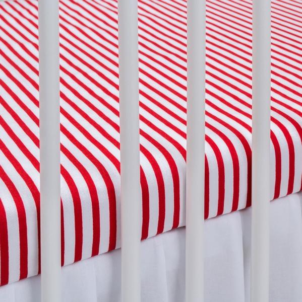Bavlněné prostěradlo - proužky červené