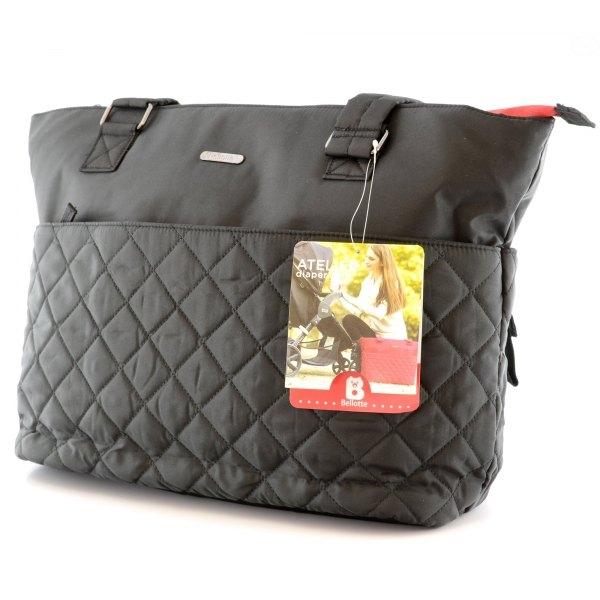 Přebalovací taška ke kočárku - černá/červený zip