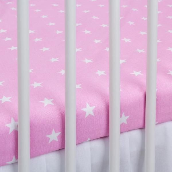 Bavlněné prostěradlo - růžové/bílé hvězdičky