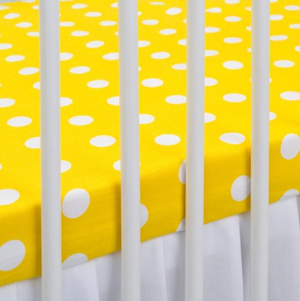 Bavlněné prostěradlo 120x60cm - žluté/bílé puntíky