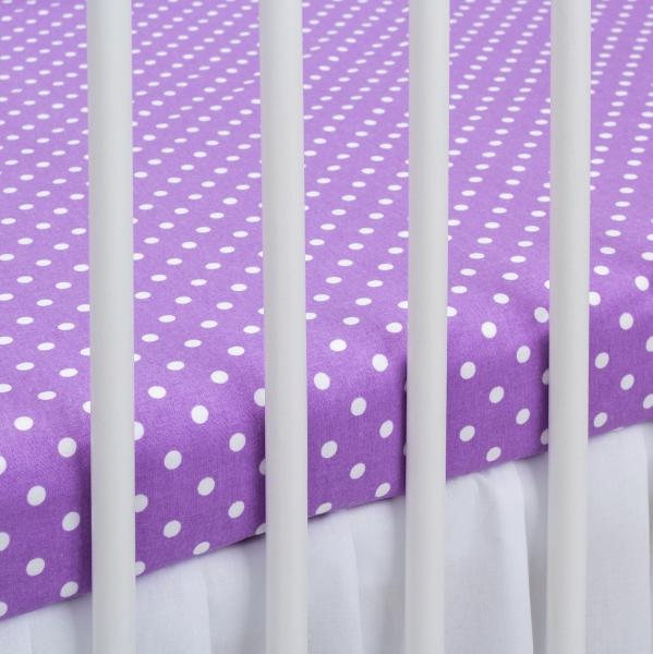 Bavlněné prostěradlo 120x60cm - fialové/bílé tečky