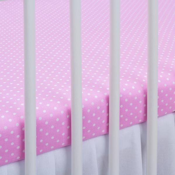 Bavlněné prostěradlo 120x60cm - sv. růžové/bílé tečky