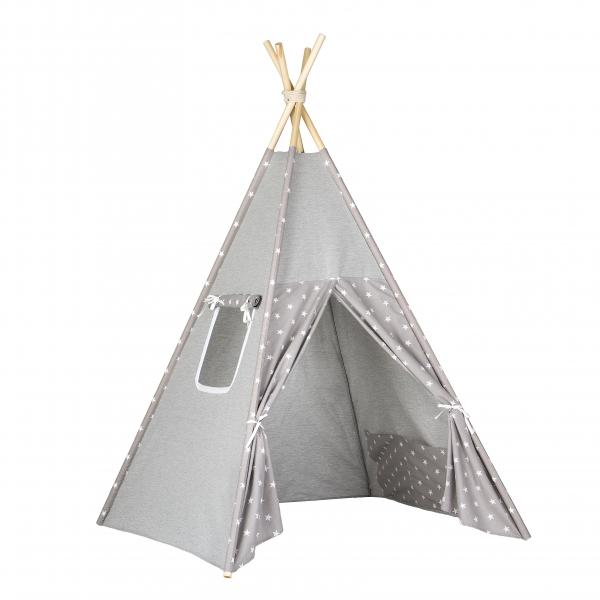 Stan pro děti teepee, týpí - šedý /šedý - hvězdičky bílé