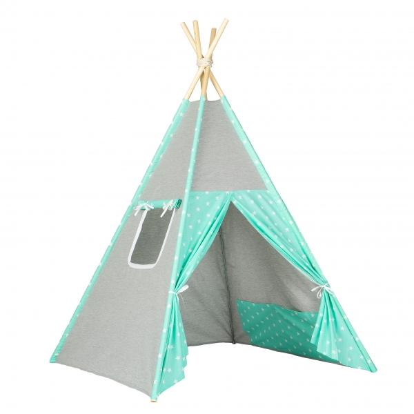 Stan pro děti teepee, týpí - šedý /mátový- hvězdičky bílé