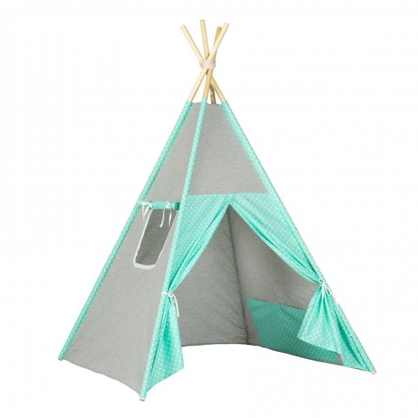 Stan pro děti teepee, týpí - šedý / mátový - bílé tečky