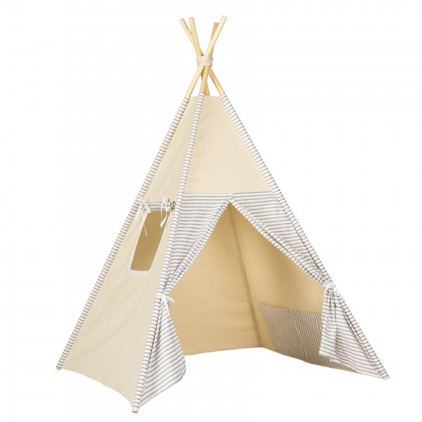 Stan pro děti teepee, týpí - béžový /bílý - proužky béžový