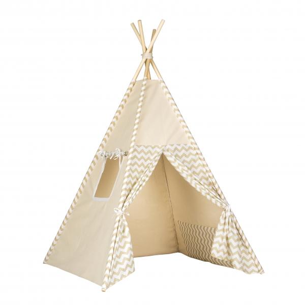Stan pro děti teepee, týpí - béžový /zigzag béžový