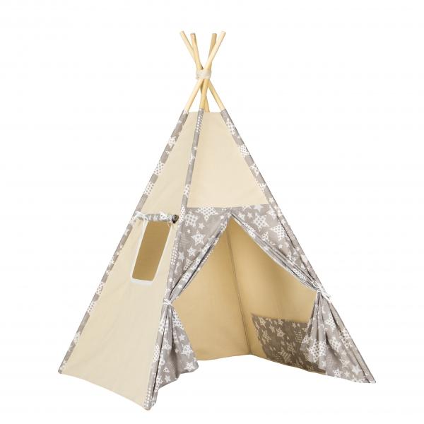 Stan pro děti teepee, týpí - béžový /šedý - hvězdy bílé