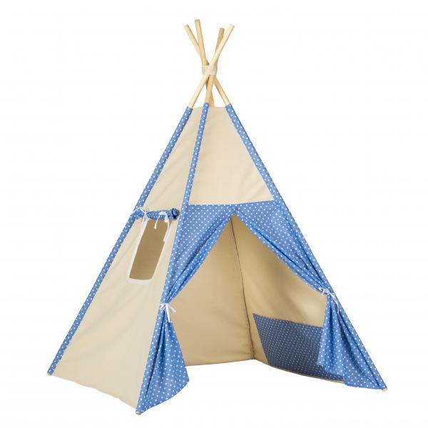 Stan pro děti teepee, týpí - béžový /modrý - tečky bílé
