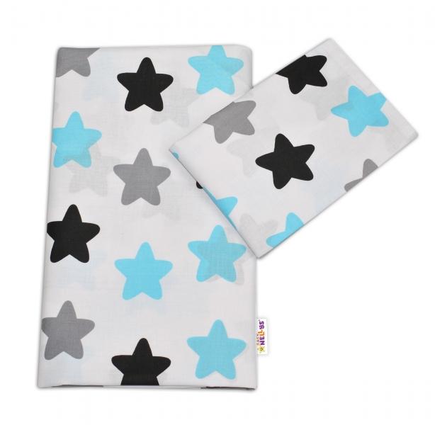 Bavlněné povlečení Baby Nellys ®- Barevné hvězdičky - modré, 120x90