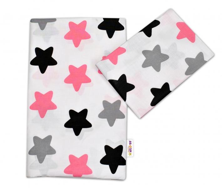 Bavlněné povlečení Baby Nellys ®- Barevné hvězdičky - růžové, Velikost: 135x100