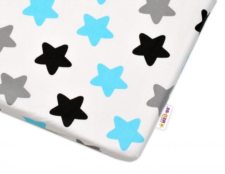 Bavlněné prostěradlo - Barevné hvězdičky - modré, Velikost: 120x60
