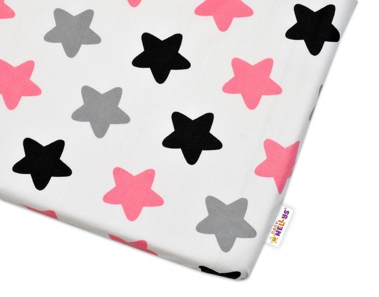 Bavlněné prostěradlo Baby Nellys - Barevné hvězdičky - růžové