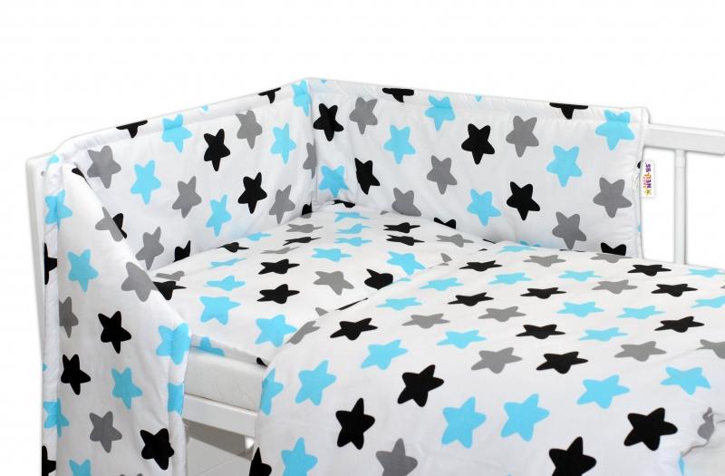 Mantinel s povlečením 135x100 - Barevné hvězdičky - modré